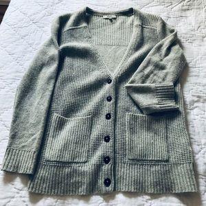 Madewell Waffle Knit Cardigan in Light Gray